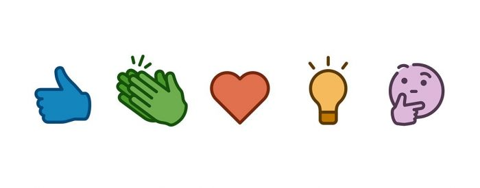 LinkedIn reaction emojis including like, celebrate, love, idea and thought